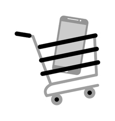 Shopping cart online mobile phone screen gray vector