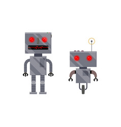 Two vintage retro style robot characters vector