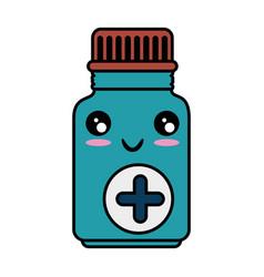 Medicine drugs bottle kawaii cartoon vector