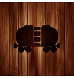 Oil tank iconwooden background vector