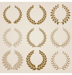 Set of gold laurel wreaths vector
