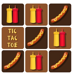 Tic-tac-toe of sausage and ketchup and mustard vector