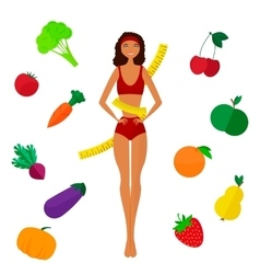 The slender dark-skinned and slimming girl diet vector