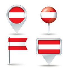 Map pins with flag of Austria vector image