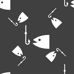 Fishing icon sign seamless pattern on a gray vector