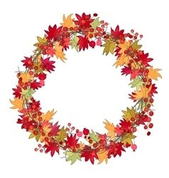 Round season wreath with autumn leaves and berries vector image