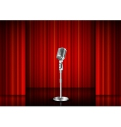 Microphone and red curtain vector
