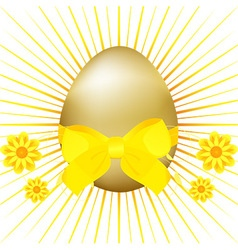 Golden easter egg with ribbon and bow vector
