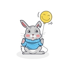 Gray hare with balloon isolated vector