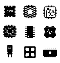 Black cpu microprocessor and chips icons vector