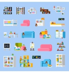 Baby room furniture flat decorative icons vector