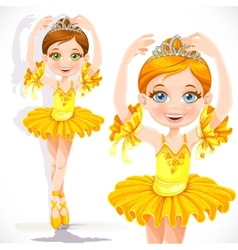 Beautiful little ballerina girl in yellow dress vector