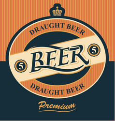 beer label with crown vector image vector image