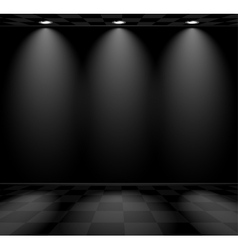 Black empty room with checkered floor vector image