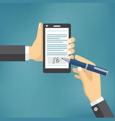 Businessman hands signing digital signature vector