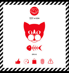 cat with fish skeleton icon logo symbol vector image vector image