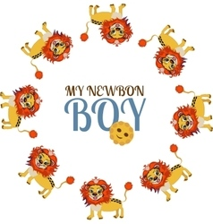 Child baby cute little lion newborn boy vector