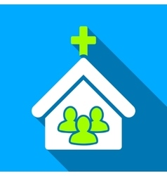Church people flat long shadow square icon vector