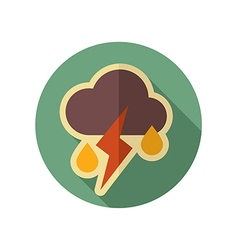 Cloud rain lightning retro flat icon weather vector