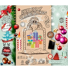 Collection of Christmas Elements doodles with vector image