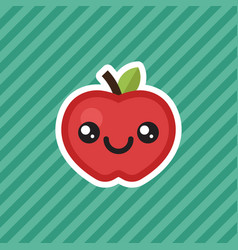 Cute kawaii smiling red apple cartoon design icon vector