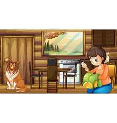 Dog and house housewife indoors vector