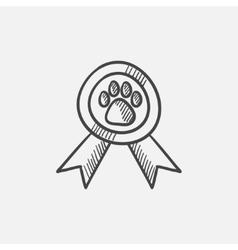 Dog award sketch icon vector image vector image