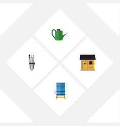 Flat icon dacha set of pump stabling container vector