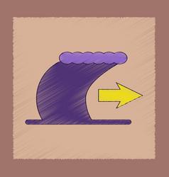 Flat shading style icon tsunami movement vector