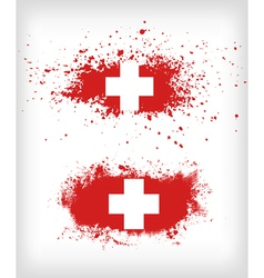 Grunge ink splattered flag of switzerland vector