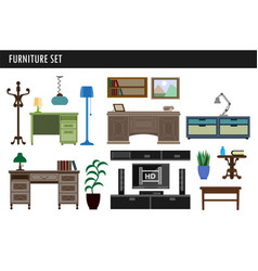 Home and office furniture chair table desk and vector