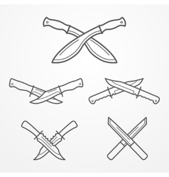 Hunter crossed knife logo vector image vector image