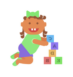 little girl plays with bricks vector image vector image