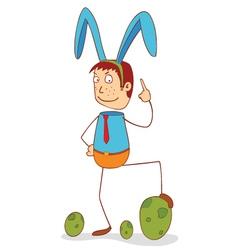 man with bunny ribbon vector image
