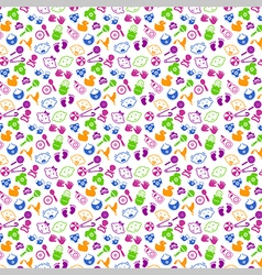 Pattern with babies faces and toys vector