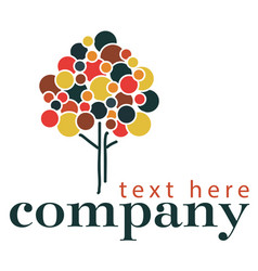 pointillism style tree logo template vector image