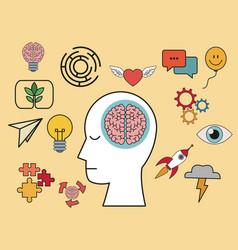 Profile human head brain creative knowledge vector