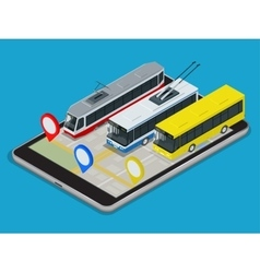 Public transport trolleybus bus tram online vector