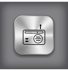Radio icon - metal app button vector