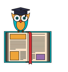 Sketch silhouette image owl knowledge with cap vector