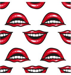 Smile mouth with red lips and white teeth pop art vector
