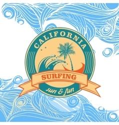 summer surfing retro vintage logo emblem vector image vector image