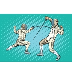The sports fencing on swords vector