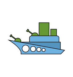 warship childs drawing style military combat boat vector image