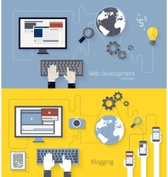 Web development and blogging design vector image vector image