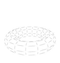Wireframe polygonal 3d torus vector