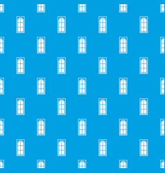 wooden door with glass pattern seamless blue vector image vector image