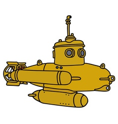 Yellow small submarine vector image vector image