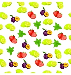 Fresh plum and slice vector
