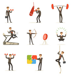 Businessman working out in gym metaphor of vector